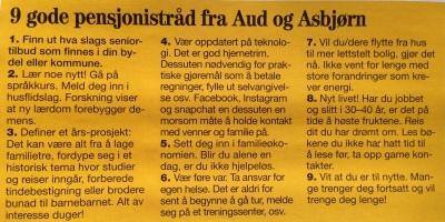 Gode råd fra Aud Kvalbein og ektemannen....